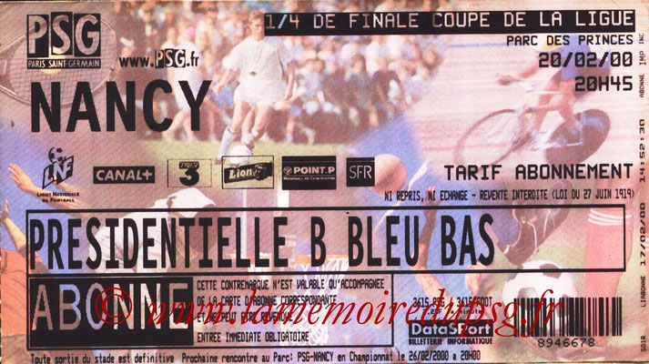 Tickets  PSG-Nancy  1999-00