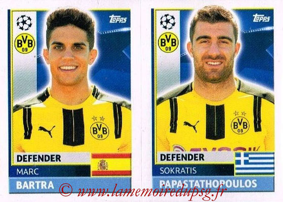 2016-17 - Topps UEFA Champions League Stickers - N° DOR 8-9 - Sokratis PAPASTATHOPOULOS + Marc BARTRA (Borussia Dortmund)