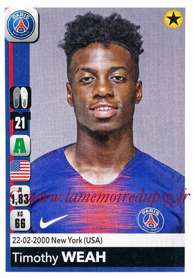 2018-19 - Panini Ligue 1 Stickers - N° 371 - Timothy WEAH (Paris Saint-Germain)