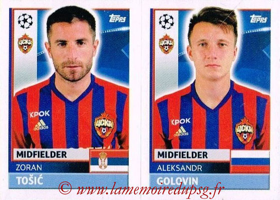 2016-17 - Topps UEFA Champions League Stickers - N° CSK 16-17 - Aleksandor GOLOVIN + Zoran TOSIC (CSKA Moscou)