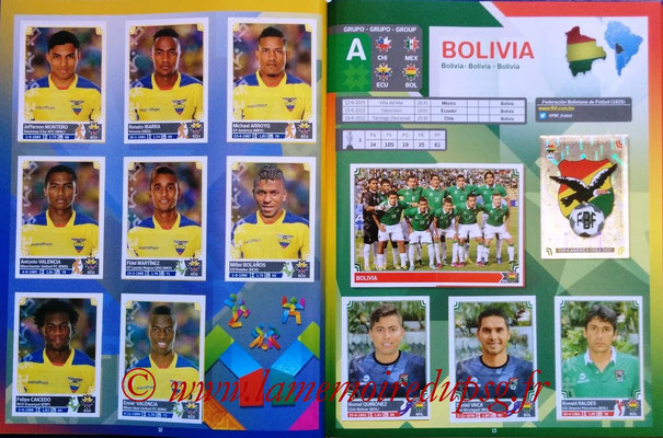 Panini Copa America Chile 2015 Stickers - Pages 12 et 13 - Equateur et Bolivie