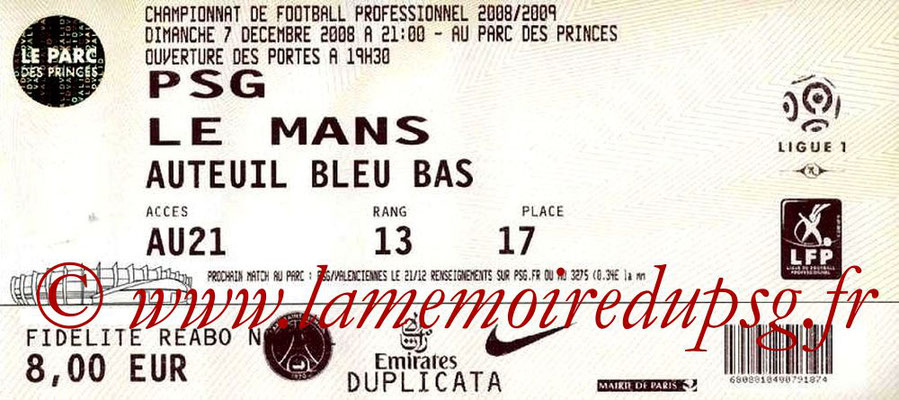 Tickets  PSG-Le Mans  2008-09