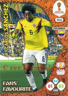 2018 - Panini FIFA World Cup Russia Adrenalyn XL - N° 366 - Carlos SANCHEZ (Colombie) (Fans' Favourite)