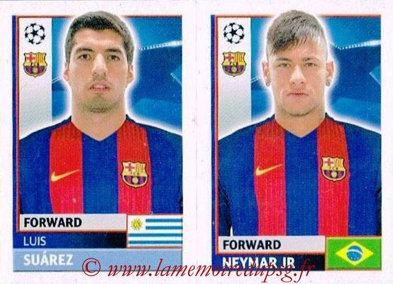 2016-17 - Topps UEFA Champions League Stickers - N° FCB 18-19 - Neymar JR + Luis SUAREZ (FC Barcelone)
