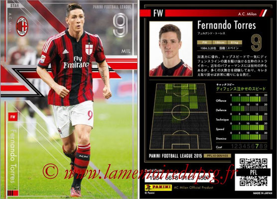 Panini Football League 2015 - PFL10 - N° 005 - Fernando TORRES (Milan AC) (Star)