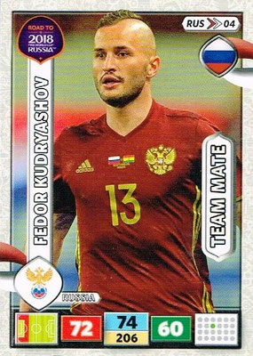 2018 - Panini Road to FIFA World Cup Russia Adrenalyn XL - N° RUS04 - Fedor KUDRYASHOV (Russie)