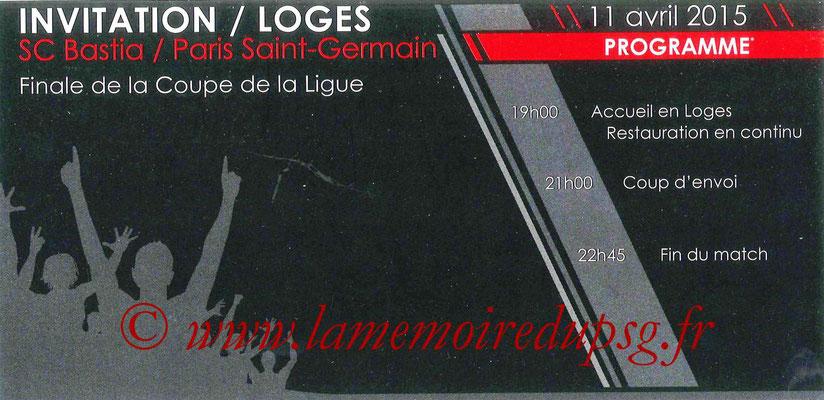 Invitation  Bastia-PSG  2014-15