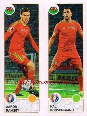 Panini Euro 2016 Stickers - N° 206 - Aaron RAMSEY + Hal ROBSON-KANU (Pays de Galles)
