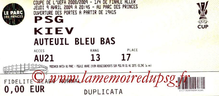 Tickets  PSG-Dynamo Kiev  2008-09