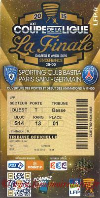 Tickets  Bastia-PSG  2014-15