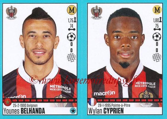 2016-17 - Panini Ligue 1 Stickers - N° 660 + 661 - Younes BELHANDA + Wylan CYPRIEN (Nice)