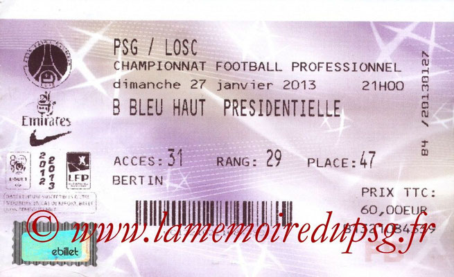 Tickets  PSG-Lille  2012-13