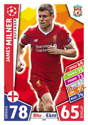 2017-18 - Topps UEFA Champions League Match Attax - N° 184 - James MILNER (Liverpool FC)