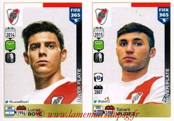 2015-16 - Panini FIFA 365 Stickers - N° 129-130 - Lucas BOYE + Tabare VIUDEZ (River Plate)