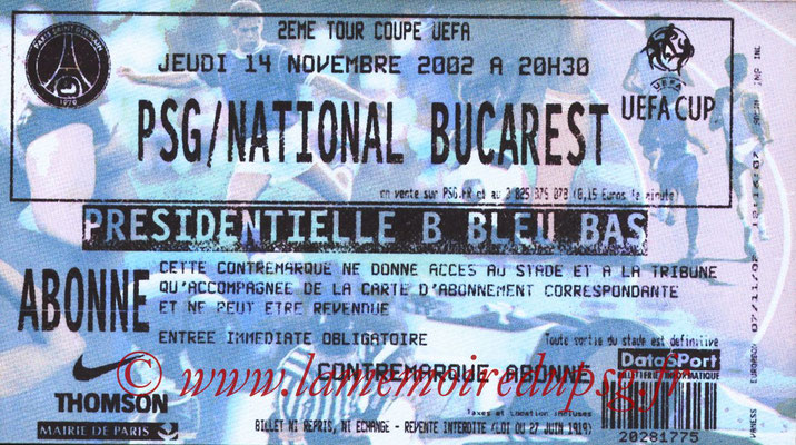 Tickets  PSG-National Bucarest  2002-03