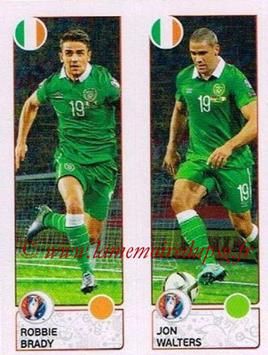 Panini Euro 2016 Stickers - N° 542 - Robbie BRADY + Jon WALTERS (République d'Irlande)