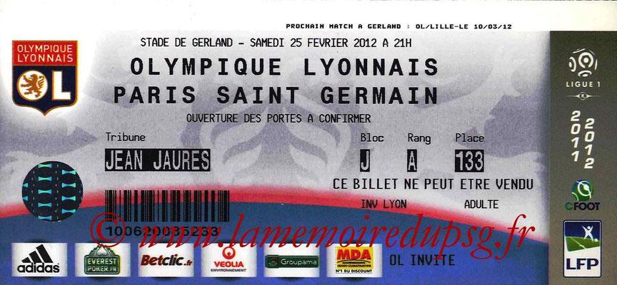 Tickets  Lyon-PSG  2011-12