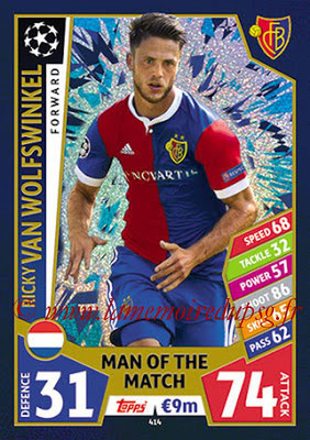 2017-18 - Topps UEFA Champions League Match Attax - N° 414 - Ricky VAN WOLFSWINKEL (FC Bâle) (Man Of the Match)