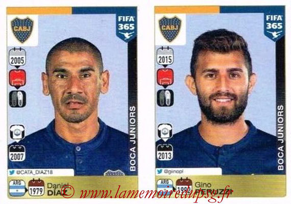 2015-16 - Panini FIFA 365 Stickers - N° 074-075 - Daniel DIAZ + Gino PERUZZI (CA Boca Juniors)