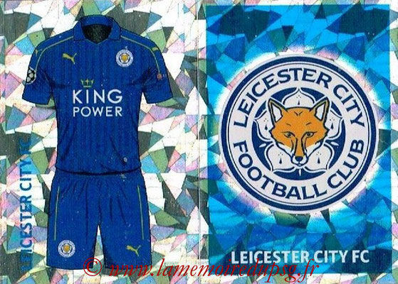 2016-17 - Topps UEFA Champions League Stickers - N° LEI 1-2 - Logo + Maillot Domicile (Leicester City FC)