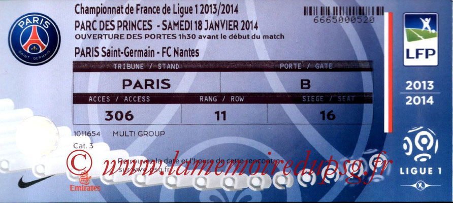Tickets  PSG-Nantes  2013-14