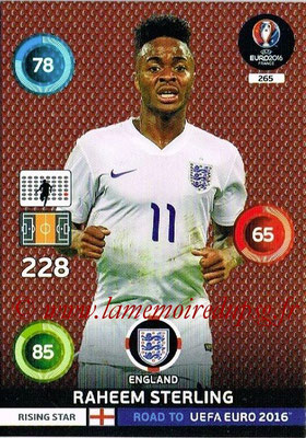 Panini Road to Euro 2016 Cards - N° 265 - Raheem STERLING (Angleterre) (Rising Star)