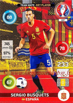 Panini Euro 2016 Cards - N° 107 - Sergio BUSQUETS (Espagne) (Key Player)