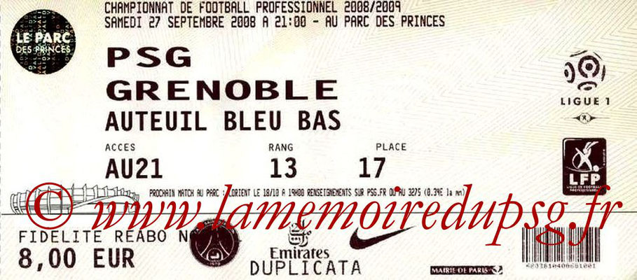 Tickets  PSG-Grenoble  2008-09