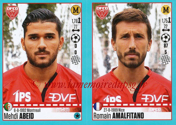 2016-17 - Panini Ligue 1 Stickers - N° 198 + 199 - Mehdi ABEID + Romain AMALFITANO (Dijon)