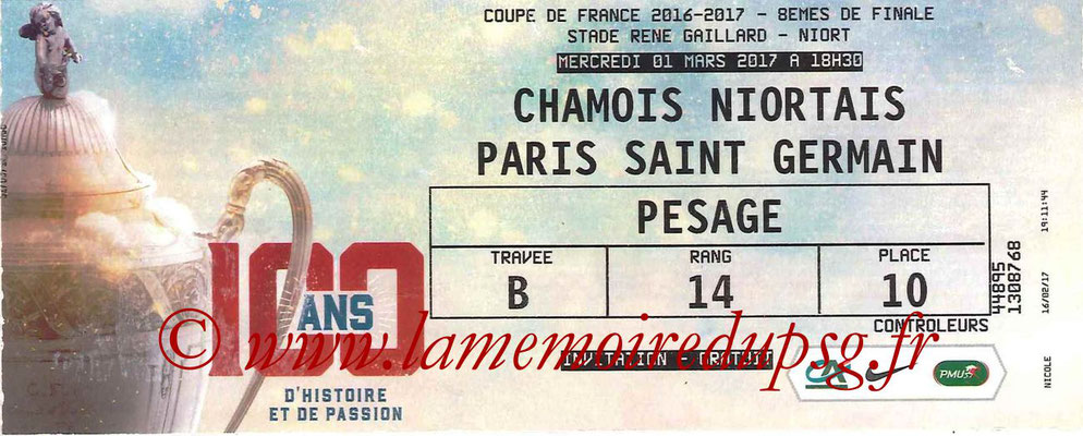 Ticket  Niort-PSG  2016-17
