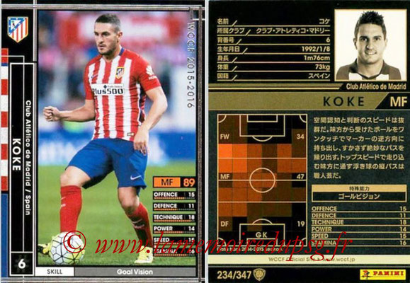 2015-16 - Panini WCCF - N° 234 - KOKE (Club Atlético de Madrid)
