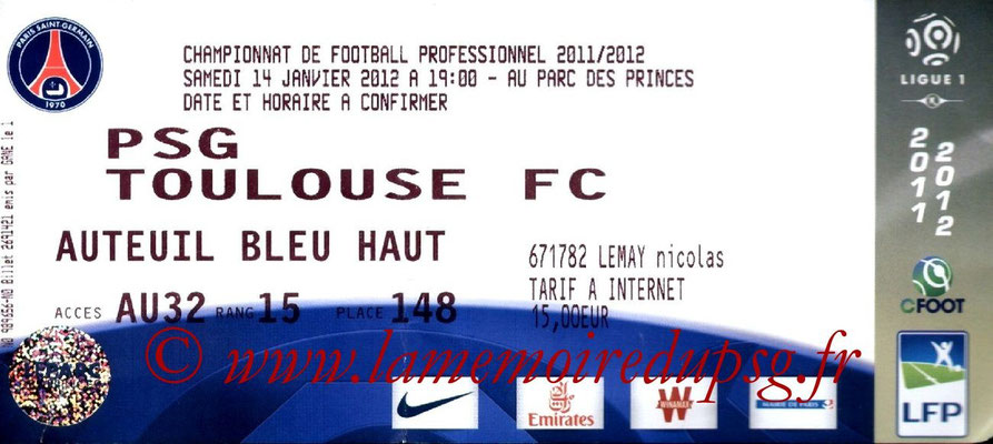 Tickets  PSG-Toulouse  2011-12
