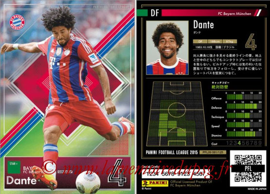 Panini Football League 2015 - PFL09 - N° 081 - DANTE (Bayern Munich) (Star +)