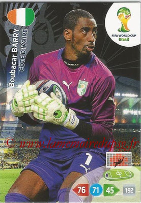 2014 - Panini FIFA World Cup Brazil Adrenalyn XL - N° 095 - Boubacar BARRY (Côte d'Ivoire)