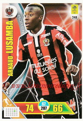 2017-18 - Panini Adrenalyn XL Ligue 1 - N° 248 - Arnaud LUSAMBA (Nice)