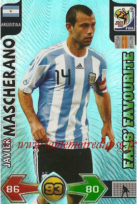 2010 - Panini FIFA World Cup South Africa Adrenalyn XL - N° 022 - Javier MASCHERANO (Argentine) (Fans' Favourite)