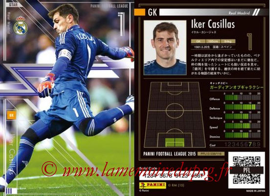 Panini Football League 2015 - PFL13 - N° 038 - Iker CASILLAS (Real Madrid) (Star)