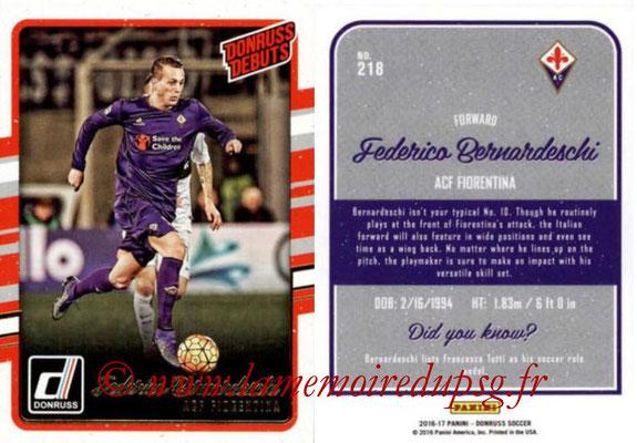 2016 - Panini Donruss Cards - N° 218 - Federico BERNARDESCHI (ACF Fiorentina) (Donruss Debuts)
