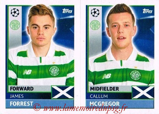 2016-17 - Topps UEFA Champions League Stickers - N° QFB 11-12 - Callum MCGREGOR + James FORREST (Celtic FC)
