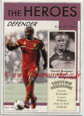 2013 - Futera World Football Unique - N° HER09 - Vincent KOMPANY (Belgique) (Defender) (The Heroes)