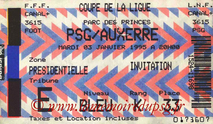 Tickets  PSG-Auxerre  1994-95