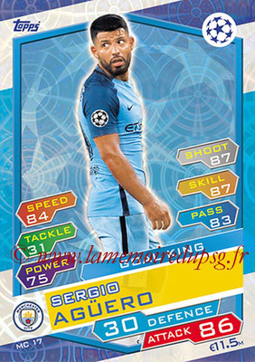 2016-17 - Topps UEFA Champions League Match Attax - N° MC17 - Sergio AGUERO (Manchester City FC) (Goal King)