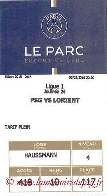 Tickets  PSG-Lorient  2015-16