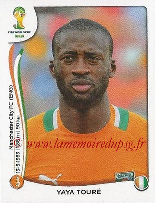 2014 - Panini FIFA World Cup Brazil Stickers - N° 231 - Yaya TOURE (Côte d'Ivoire)