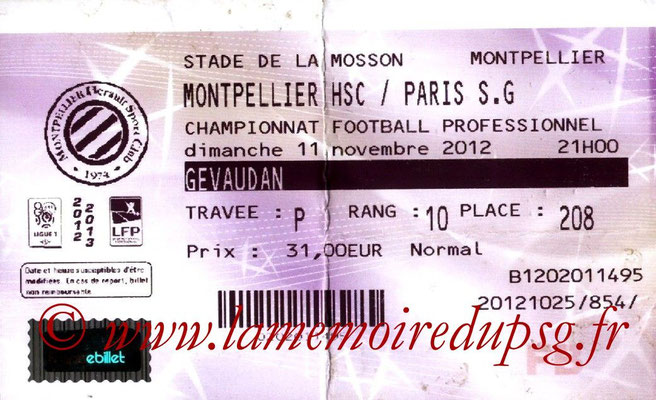 Tickets  Montpellier-PSG  2012-13