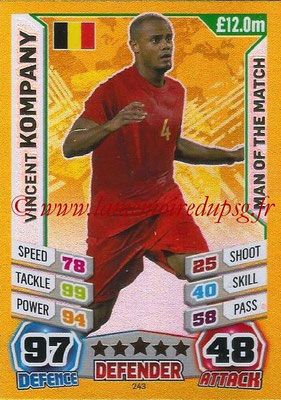 Topps Match Attax England 2014 - N° 243 - Vincent KOMPANY (Belgique) (Man Of The Match)