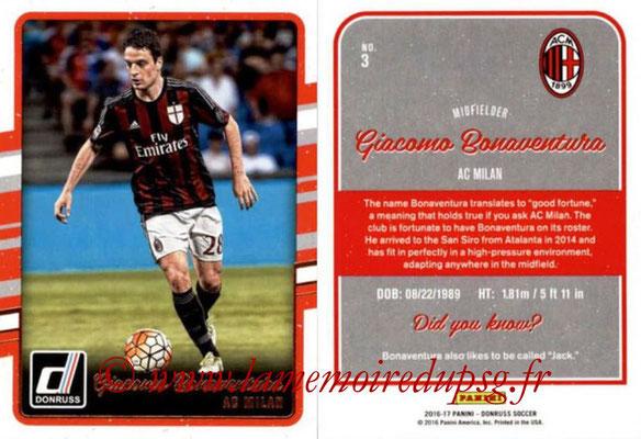 2016 - Panini Donruss Cards - N° 003 - Giacomo BONAVENTURA (Milan AC)