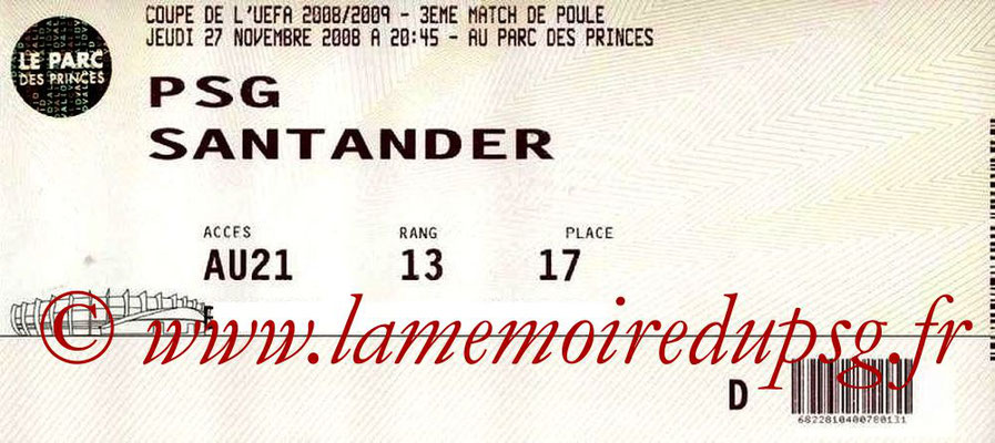 Tickets  PSG-Santander  2008-09