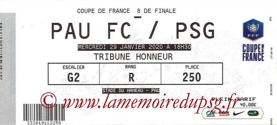 Ticket  Pau-PSG  2019-20