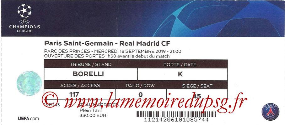 Ticket  PSG-Real Madrid  2018-19